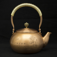 1.2L handmade red copper teapot glass samovar ceramic enameled from clay enameled kettle metal puer green tea gift Japanese