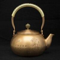 1.2l feito à mão vermelho cobre bule de vidro samovar cerâmica esmaltado da argila esmaltado chaleira metal puer chá verde presente japonês|Bules| |  -