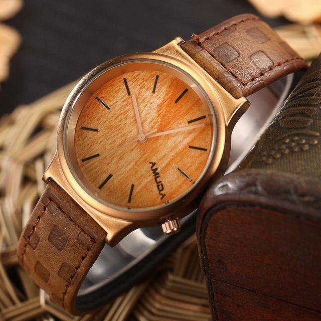 Zegarek drewniany AMUDA klasyczny
