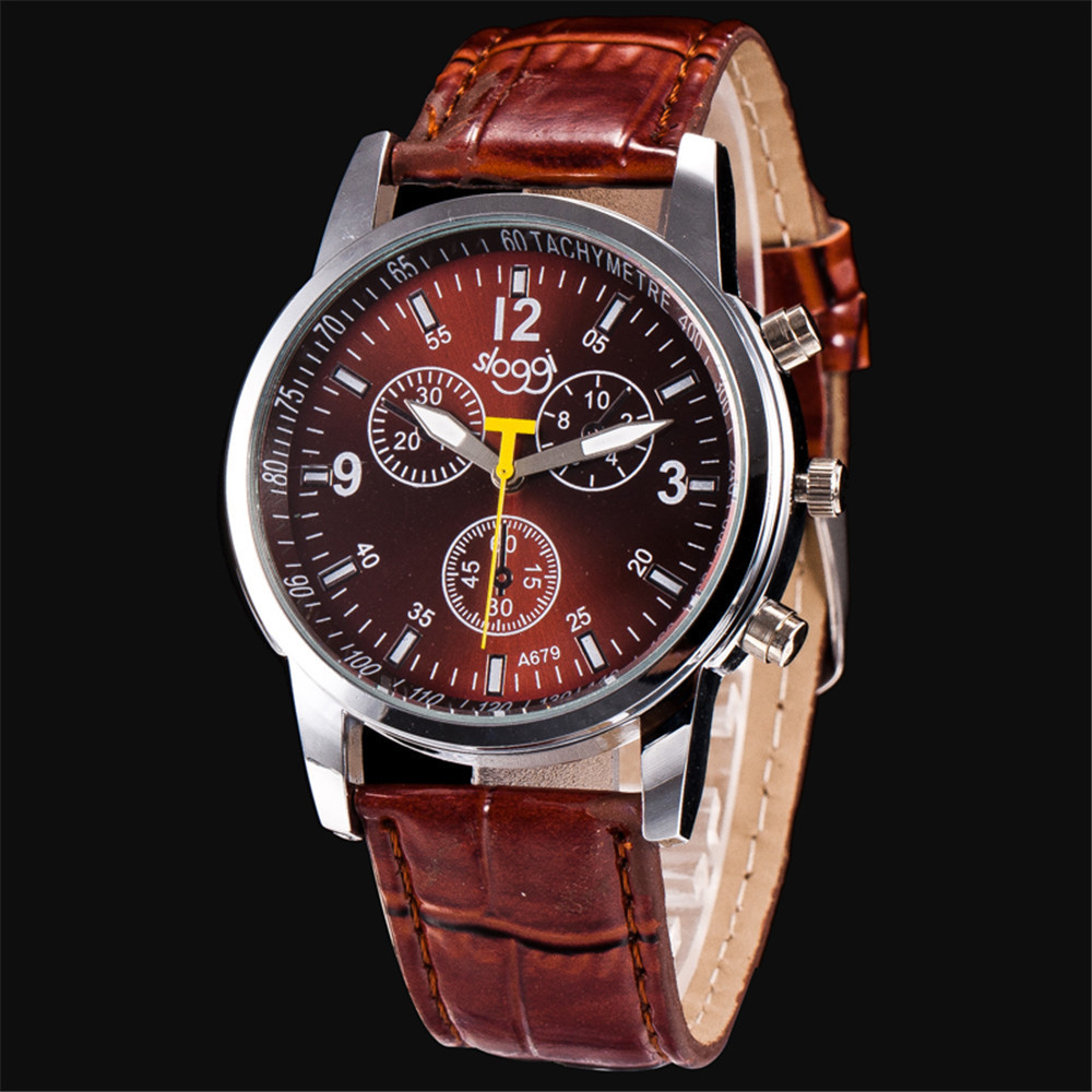 New Men watch Luxury Brand Watches Quartz Clock Fashion Leather belts Watch Cheap Sports wristwatch relogio male @F
