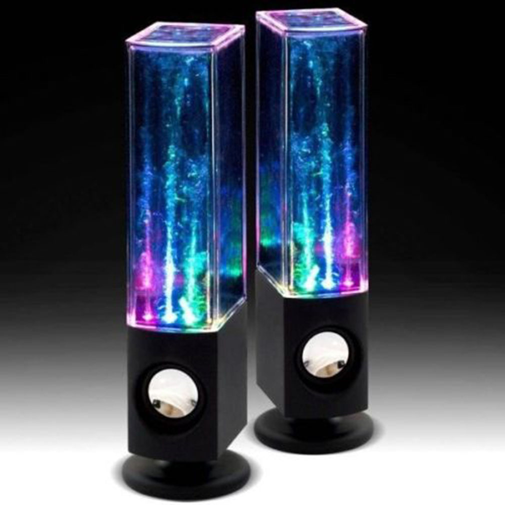 2PCS LED Light Dancing Water Music Fountain Light Speakers for PC Laptop for Phone Portable Desk Stereo Speaker Column Soundbar
