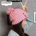 B Letter Coarse Lines Thicken Warm Winter Autumn Spring Thermal Knitted Female Ear Hat For Women Girls knit Hats Caps Beanie