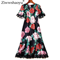 Ziwwshao Elegant Rose print dresses O Neck Beading Petal Sleeve temperament Party dress spring and summer runway new women