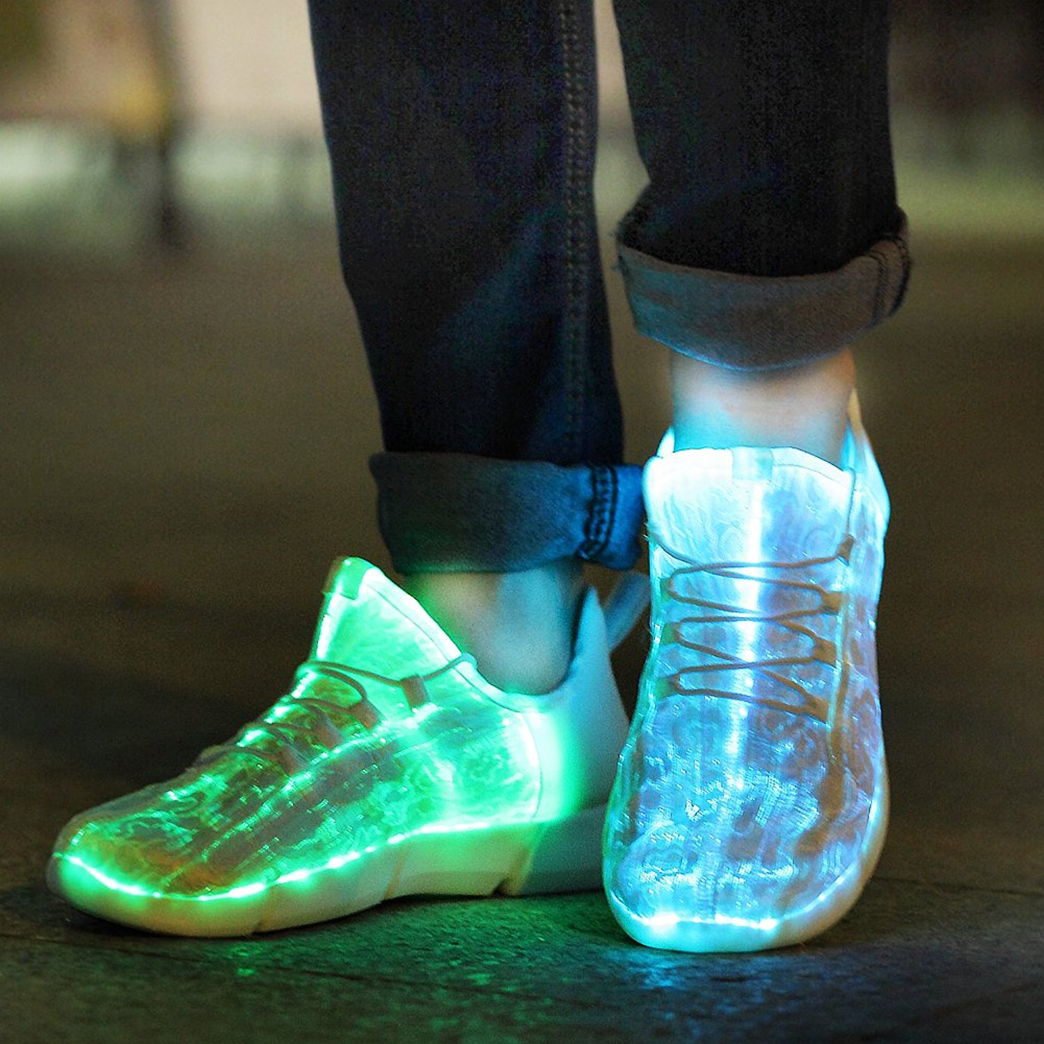 UncleJerry Size 25-46 New Summer Led Fiber Optic Shoes for girls boys men women USB Recharge glowing Sneakers Man light up shoes luminous fiber optic shoes