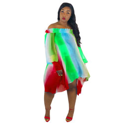 Sukienka Neon Sukienka kobiety lato paski Off Shoulder szyfonowa plaża sukienki luźne woal nieregularny tęczowy Sukienka z włókna Plus rozmiar 1