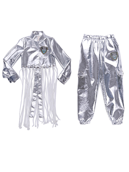 2019 Hip Hop Dance Costume Girls Silver Sequin Outfit Vest Pants Jacket Kids Dancing Clothes Street Dance Clothing Stage Dress