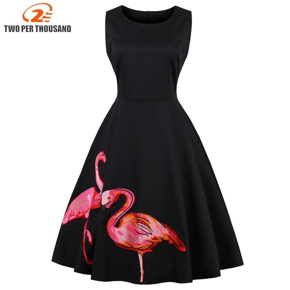 3XL 4XL Plus Size Women Dresses Robe Pin UP Vestido Summer Embroidery Flamingo Retro Casual Party Rockabilly 50s Vintage Dresses