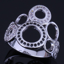 Wonderful Round Black Cubic Zirconia White CZ 925 Sterling Silver Ring For Women V0485