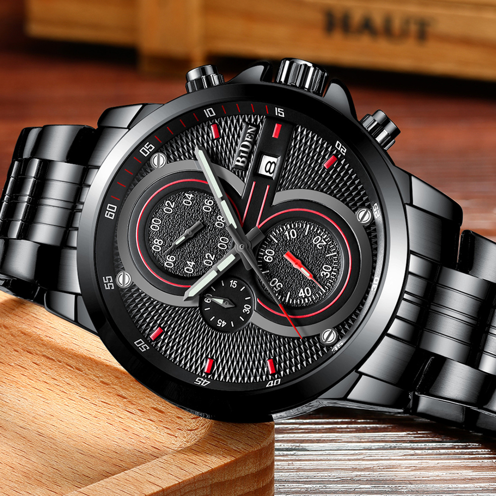 BIDEN Mens Watches Top Brand Luxury Fashion Business Quartz Watch Men Sport Full Steel Waterproof Military Wristwatch Male Clock tvg mens watches top brand luxury military fashion business quartz watch men stainless steel sport waterproof wrist watch