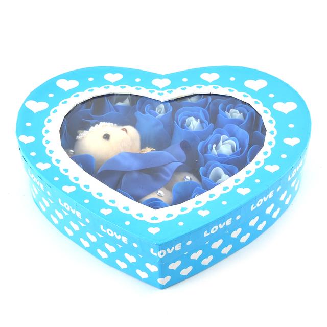 UXCELL Fantoche Urso Azul Rose Sabonete Em Forma de Pétala Presente do Dia Dos Namorados 19 Em 1