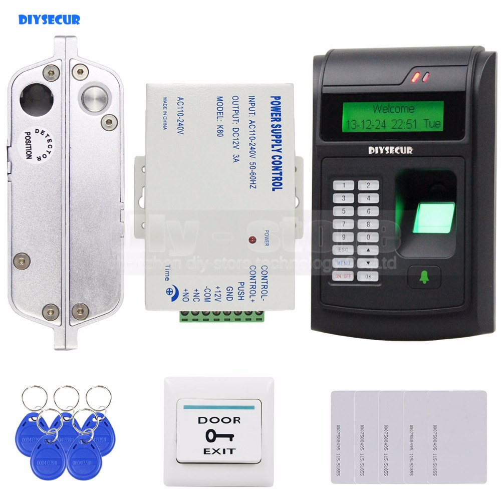 DIYSECUR 125KHz RFID LCD Fingerprint Keypad ID Card Reader Access Control System Kit + Electric Bolt Lock /Electric Mortise Lock