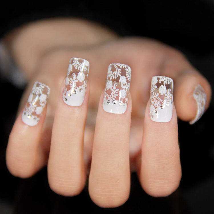 2 New Fashion Designs For Choose Lace Transparent X 1pack Nails Art