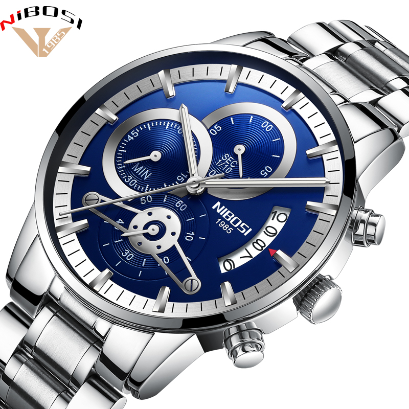 2018 New Sale NIBOSI Fashion Watches Men Top Brand Luxury Stainless Steel Analog Quartz Wrist Watch Business Luminous Wristwatch