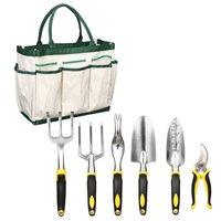 7Pcs/Lot Gardening Tools Set Scissors Shovel Spade Bonsai Flowers Planting Weeding Kits Garden Hand Tool Kit Carry Bag Organizer