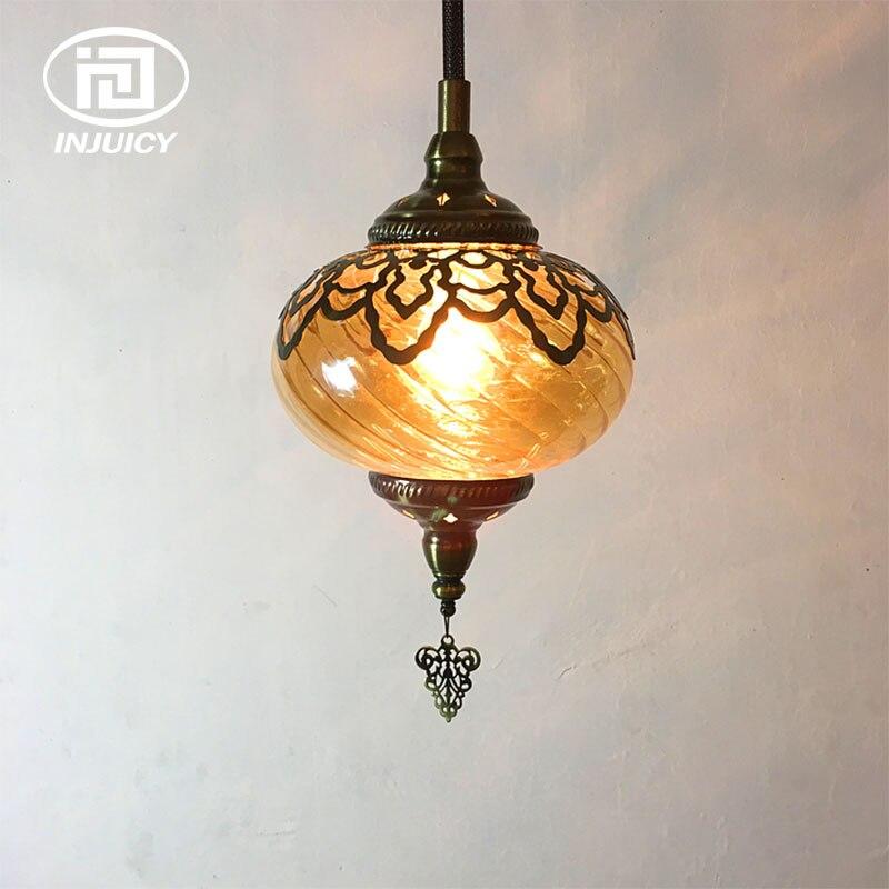Loft Vintage Southeast Asia Coffee Pendant Lamp Middle East Retro Wave Cafe Bar Specialty Restaurant Hotel Glass Pendant Lights