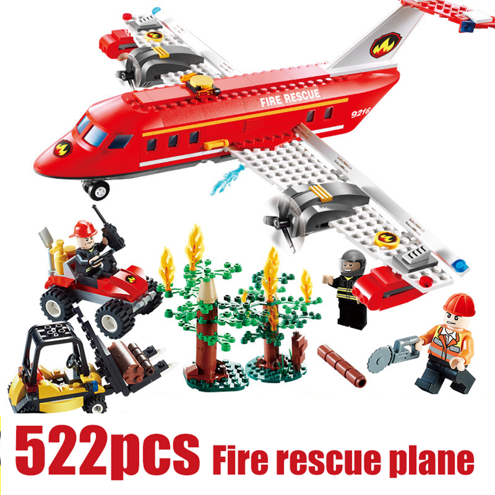 522pcs GUDI Fire Station Rescue Airplane Playmobile MOC Building Blocks Bricks Compatible With Legoe City Ninjago Toys For Kids