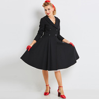 Sisjuly Vintage 1950s Black Dresses Autumn V Neck Female Party Dress Three Quarter Cotton Blends Elegant