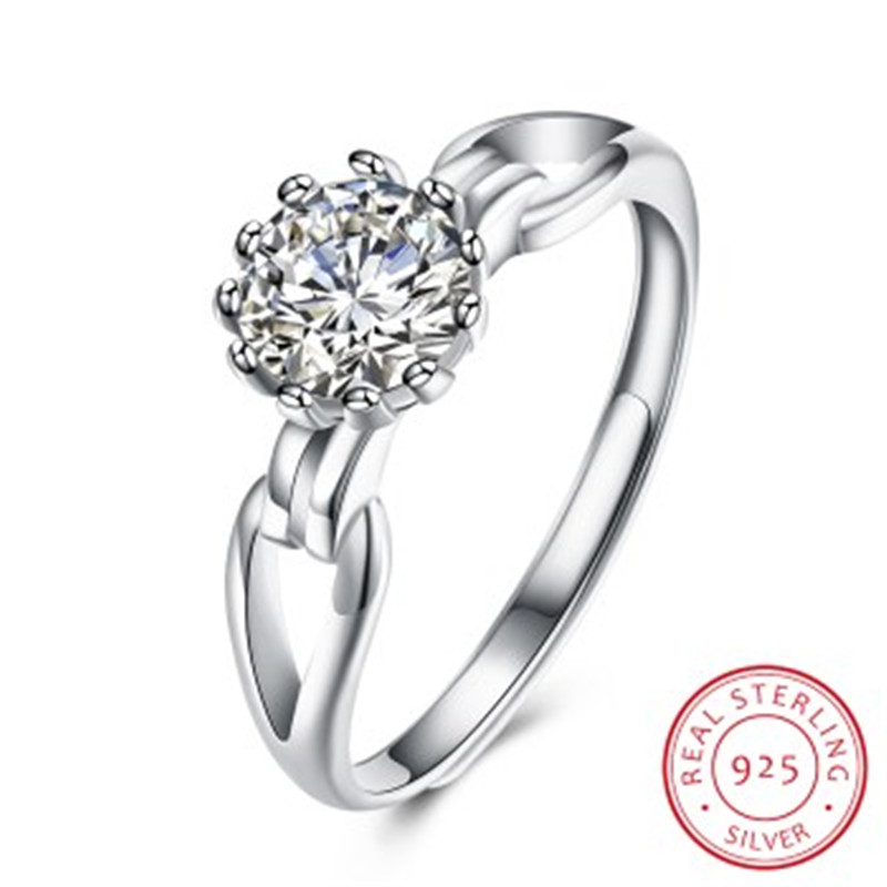 Wholesale Fashion 925 Sterling Silver White Zircon Rings For Women Simple Open Ring Sterling Silver Jewelry
