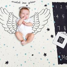 Новорожденный реквизит для фотосъемки с угловым крылом, ежемесячный хлопчатобумажный фон, одеяло для коляски, банное полотенце, детский реквизит для фотосъемки