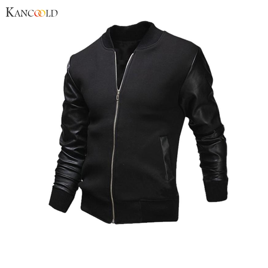 2017 Spring Jacket Men's Slim Stand Collar Casual Mens Jackets Tops Zipper Pu Leather Coat Men Rib Sleeve Coat Outwear GBY8