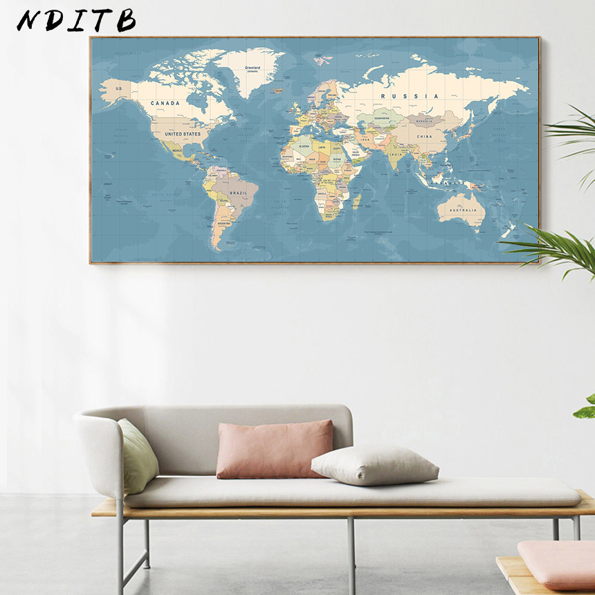World Map Decorative Picture Canvas Vintage Poster Nordic Wall Art Print Large Size Painting Modern Study Office Room Decoration