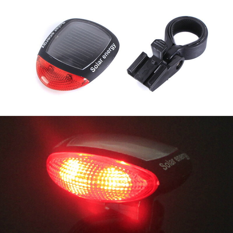 Cheap Bicycle Tail Bike Light Solar Power LED Cycling Light Rear Night Safety Warning Riding Flashlight MTB Mountain Biking Lamp image