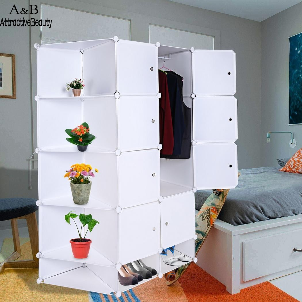 Homdox Folding Combination Cube Cupboard Cabinet Closet Storage Organizer 2 Column 5 Layer DIY Bedroom Book Toy Cabinets N40*