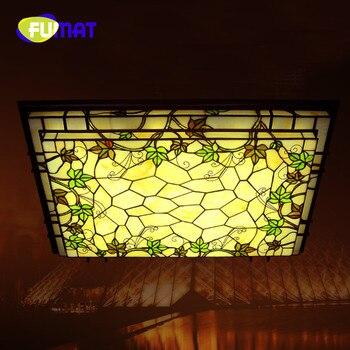 FUMAT Tiffany Lampada Da Soffitto A LED soggiorno Apparecchio di Illuminazione Rettangolare Americano Viti Lampada Della Decorazione luminari lampade A Soffitto