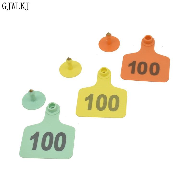 Farm  Animal Cattle Earmarks 001-500 Digital ID Card Labels Cattle Ears Copper Head Earrings Animal Supplies200pcs