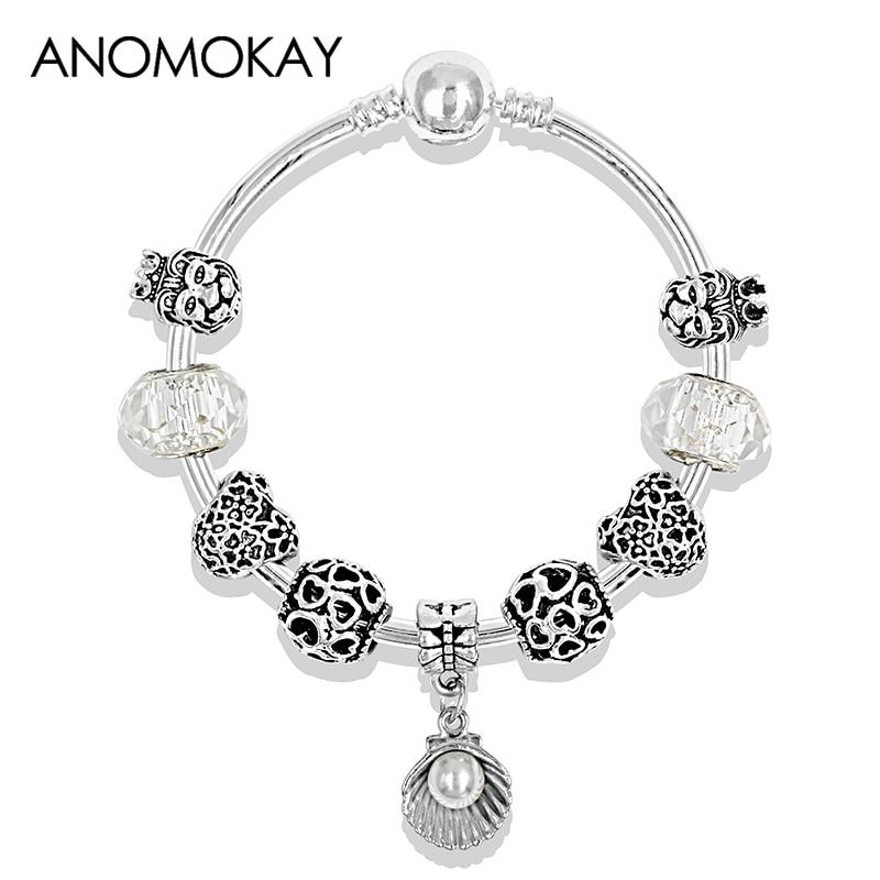 Tibetan 925 Silver Shell Pendant Fashion Bead Bracelet Heart Lion DIY Charm Pandora Bracelet & Bangle for Women Wedding Jewelry
