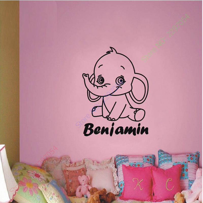 Children baby elephant custom name some wall decals art for Baby mural wallpaper