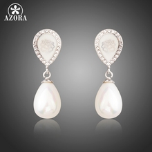 AZORA Fashion Pearl Jewelry for Women Leave Shape Clear Crystals Drop Earrings Wedding Party Boucle D