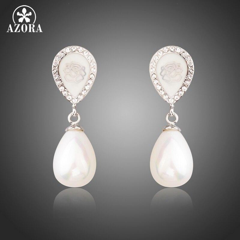 AZORA Fashion Pearl font b Jewelry b font for Women Leave Shape Clear font b Crystals