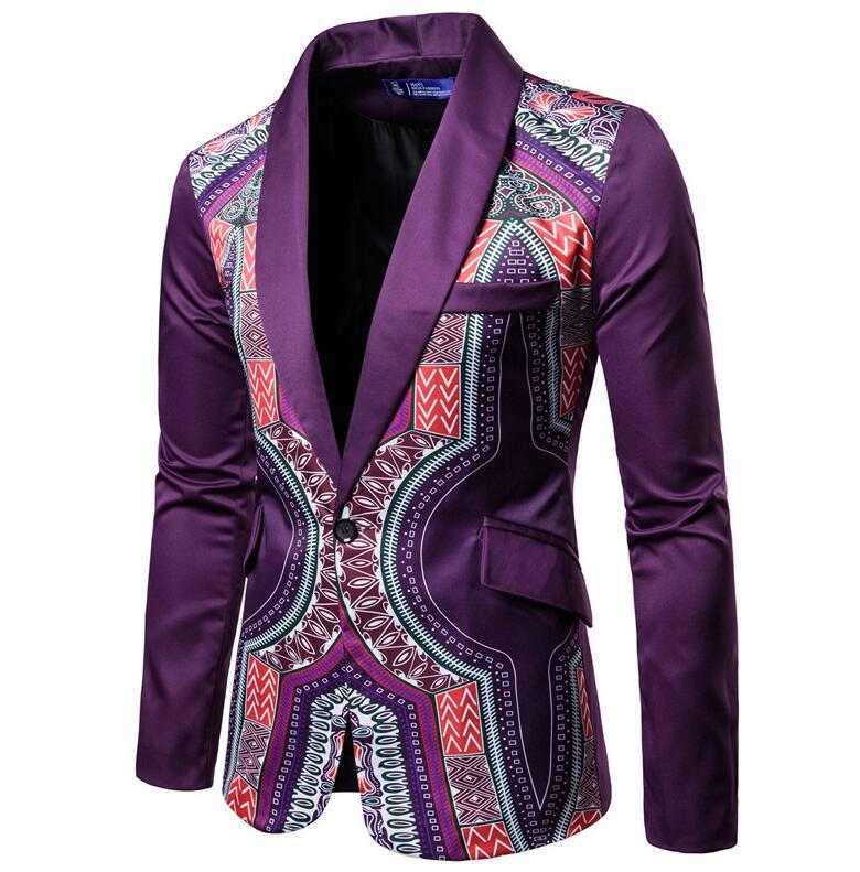 YUNCLOS мужской пиджак в национальном стиле, блейзер для свадебной вечеринки, модный вечерний пиджак с принтом, приталенный мужской пиджак с воротником-шалью - Цвет: Фиолетовый