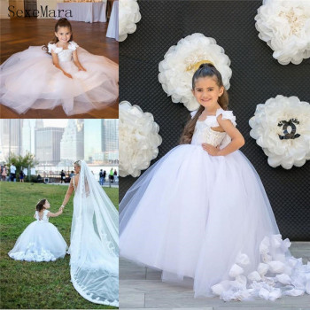 White Puffy Tulle Baby Girls Dresses Handmade Flowers Adorned Kids Pageant Dress Little Girl Birthday Party Wear Princess Gown
