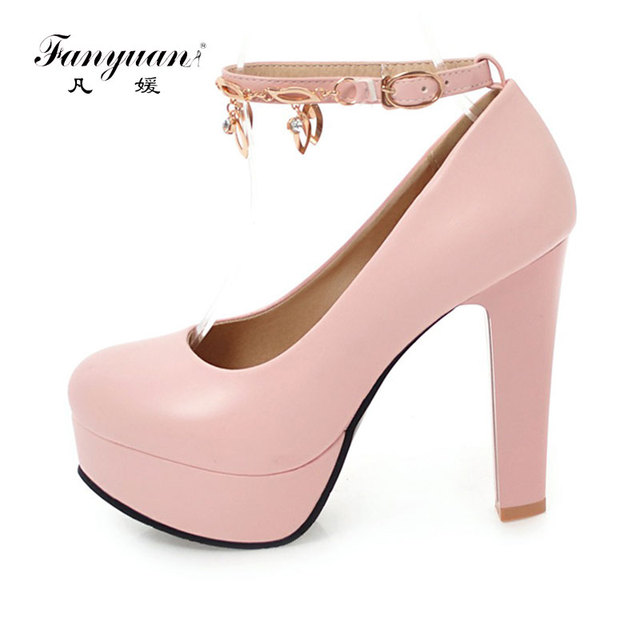 Fanyuan 2018 Women Spring Heels Elegant Thin heels Pumps Ladies Buckle  Strap Footwear Crystal Chain Female s Super High Heels 3ea0214f5f28