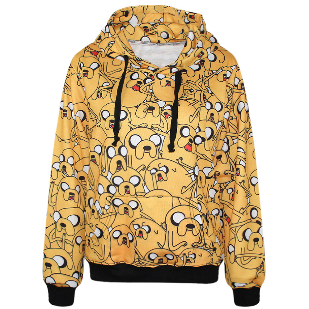 High Quality Adventure Time Jake Dog 3D Printed Women Hoodies With Pocket Casual Long Sleeve Blouse