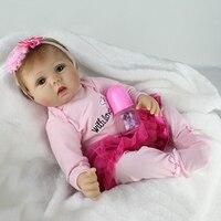 NPKDOLL 55 cm Bebe Doll Reborn soft Silicone Girl Babies Blue Eyes Child Birthday Gift Realistic Born Dolls Toys Magnet pacifier