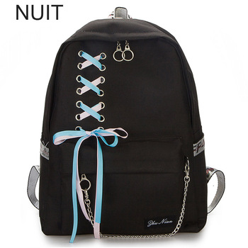 Women Backpack Usb Laptop Canvas Rucksack School Backpack for Girls Bow Chain Printing Schoolbag Sac A Dos Femme Ladies