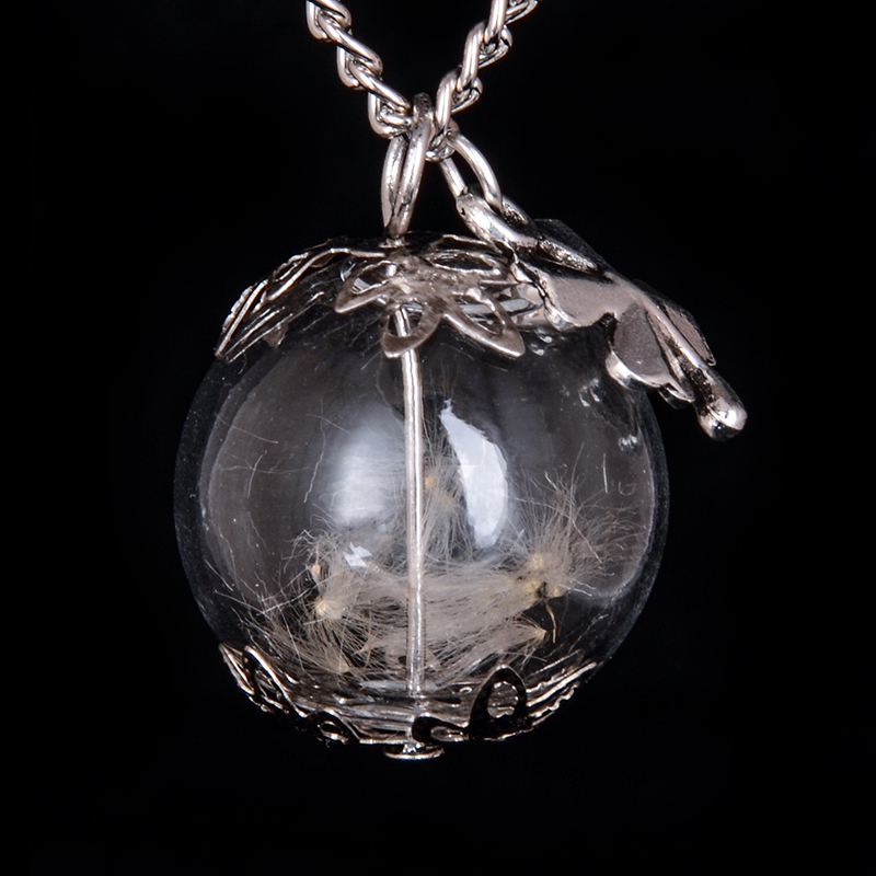 ball bottle Vial Necklace with flower