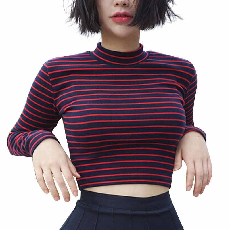 Crop Top Wanita 2018 Chic All-Match Garis Klasik Slim Bustier Crop Top Turtleneck Lengan Panjang T-shirt Seksi Tee
