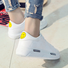 HOT SALES! Free shipping 2016 Autumn Women's White Flat Shoes Heavy-bottomed Student Shoes Lace-up Shoes Tide Smile Single Shoes