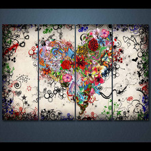 flower love heart romance canvas art