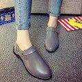 Женщины Повседневная Квартиры Ботильоны Оксфорд Низкий Квадратный Каблук Высокий качество Пряжка Ремешка Острым Носом Женщина 2016 Новая Мода Осень обувь