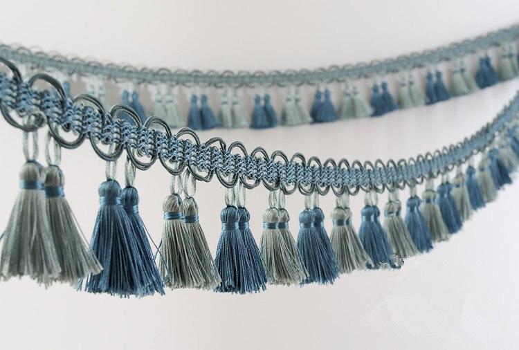 6 M/Lot 8 cm largeur Double couleur rideau dentelle accessoires frange de pompons de décoration ruban bricolage couture maison tissu canapé décor de mariage
