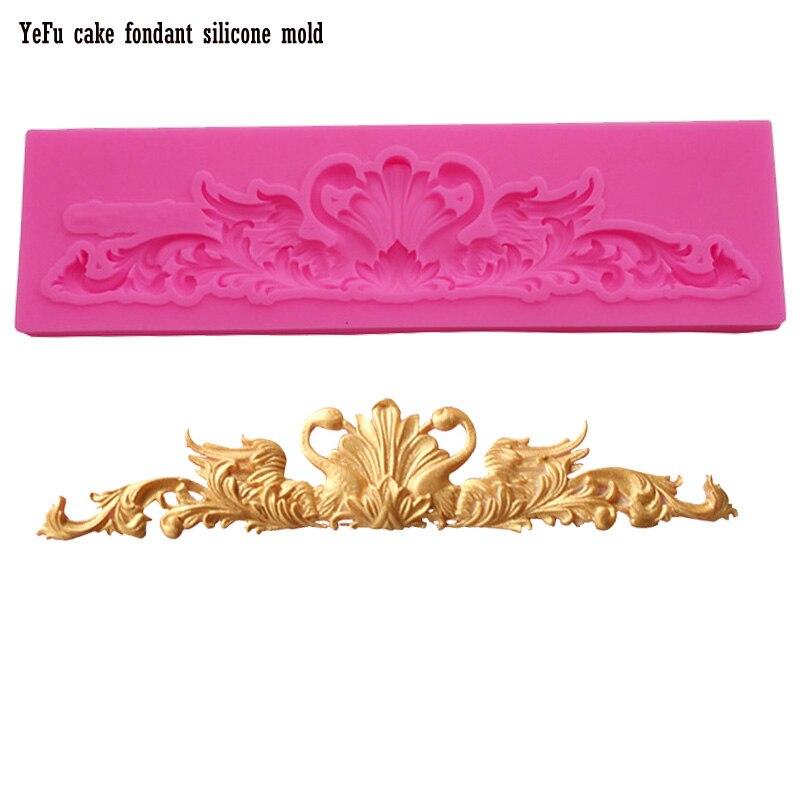 ≧Cisne hermoso patrón de encaje Fimo molde de silicona para ...