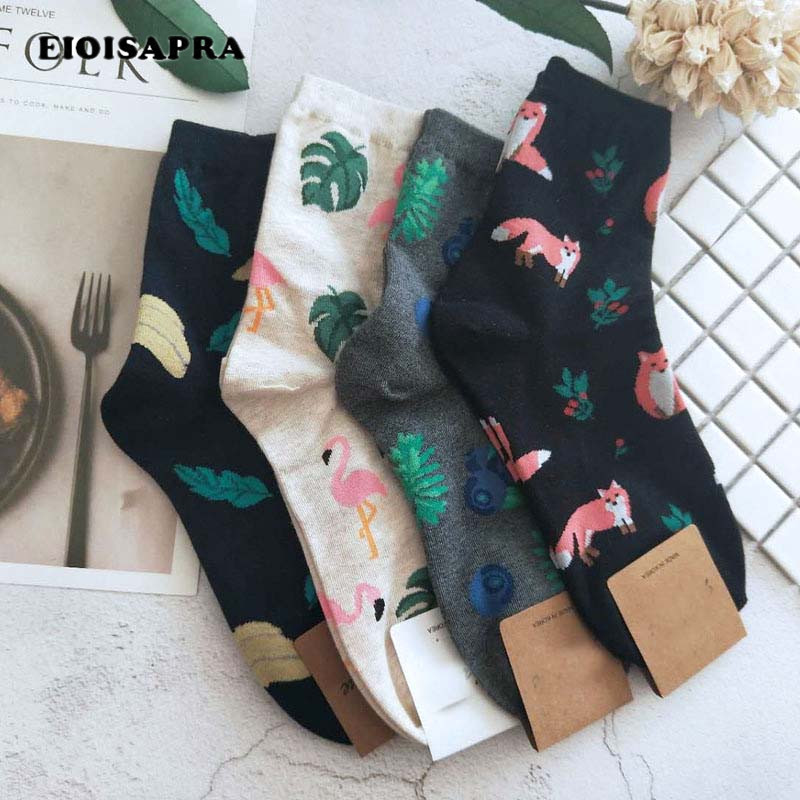[EIOISAPRA]Cute Jacquard/Plants Printing Pattern Art   Socks   Women Korean Animal/Cactus   Socks   Funny   Socks   Kawaii Sokken Calcetines