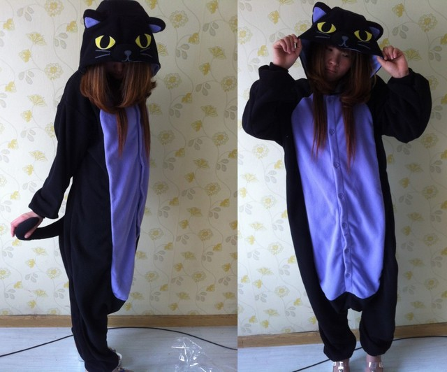 3eaaa67405 Midnight Cat Onesies Black Cat Pajamas For Unisex Adult Pajamas Fleece  Adults Halloween Cosplay Costumes Jumpsuit