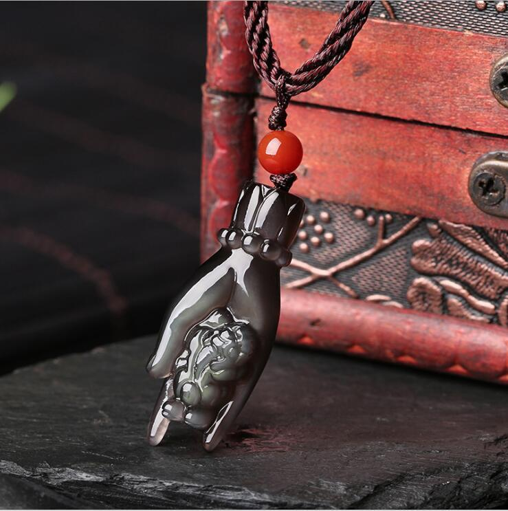 China Natural Ice Color Obsidian stone hand and Pi Xiu Pendant Necklace Amulet xiu qing li somatic genome variation