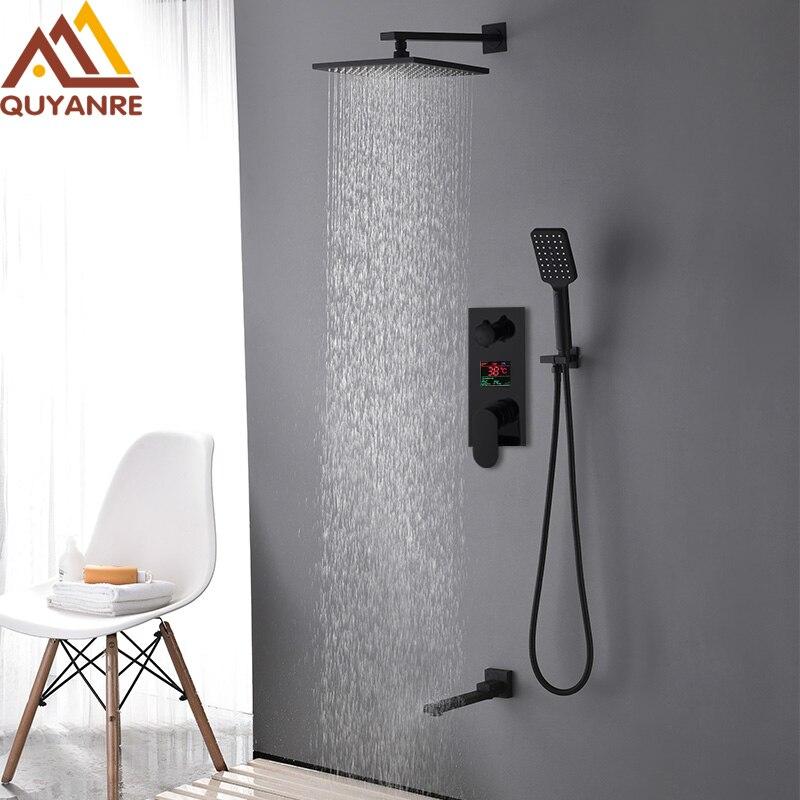 купить Quyanre Black Digital Shower Faucets Set Brass Rainfall Shower Head 3-way Digital Display Mixer Tap Swivel Tub Spout Bath Shower по цене 8906.64 рублей